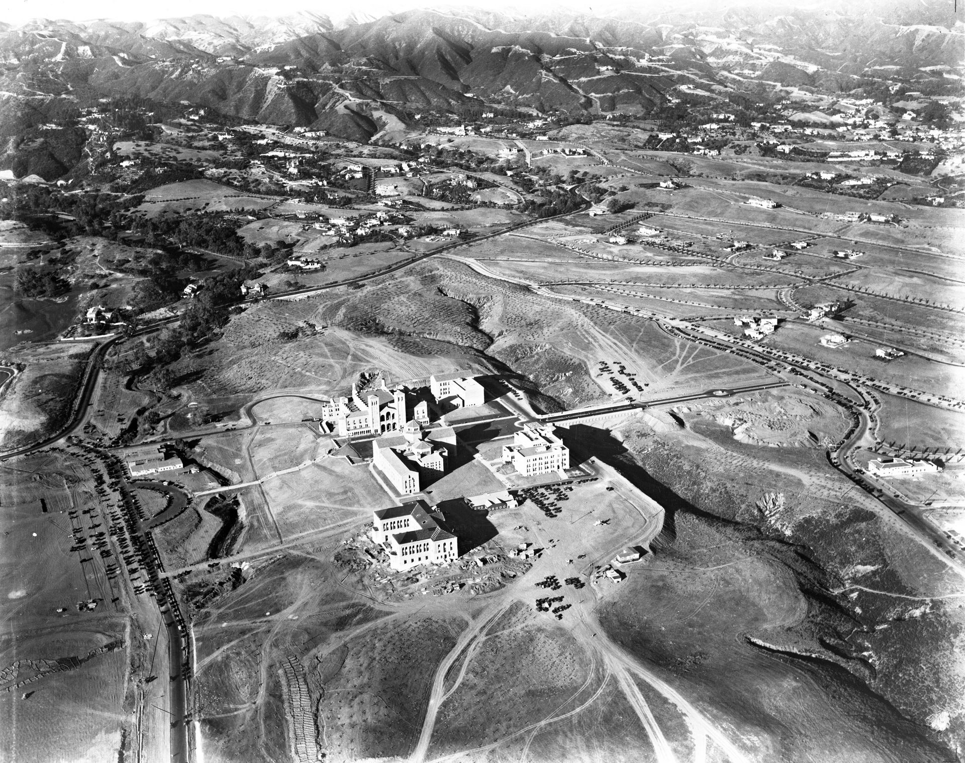 Black and white aerial map of rural UCLA campus