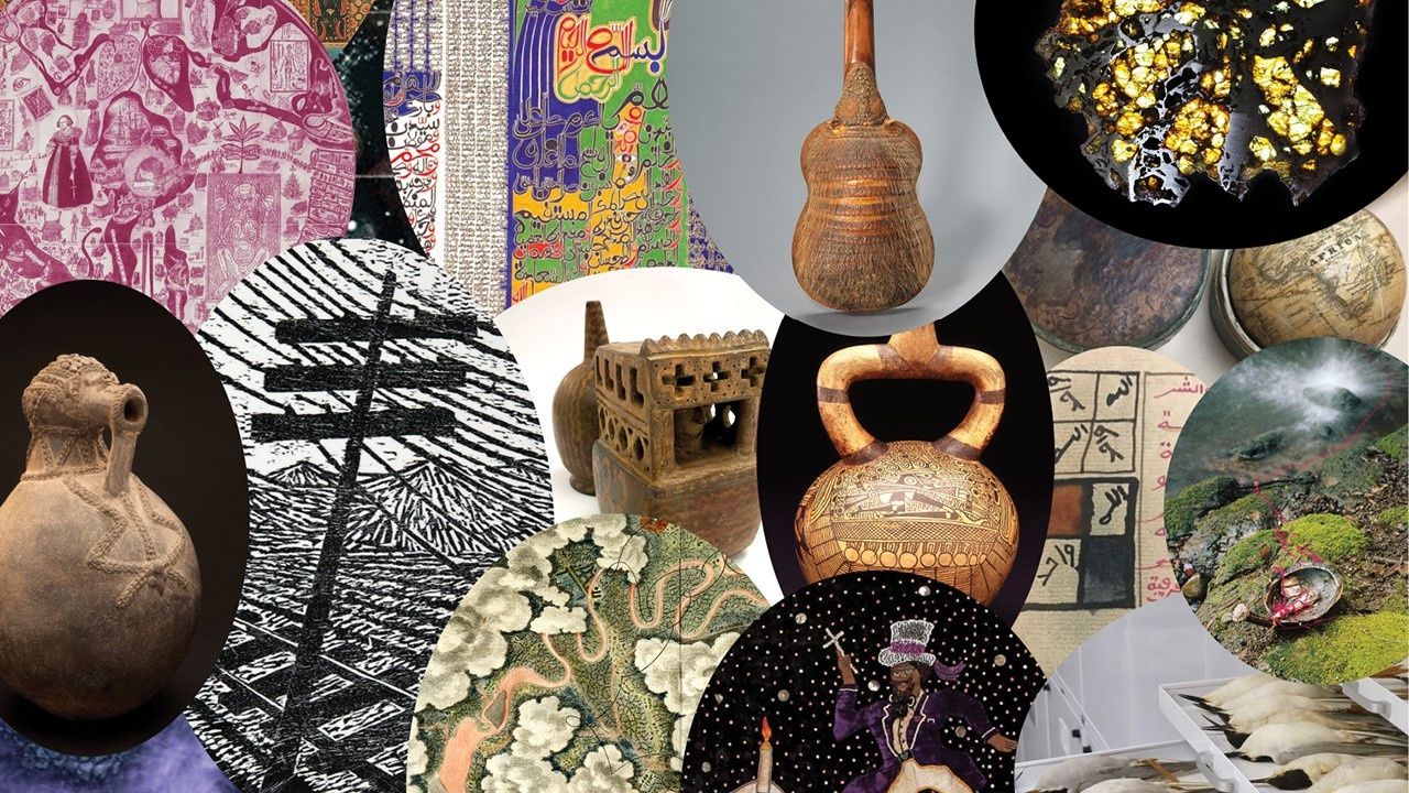Collage of different university holdings including scupltures, musical instruments and books